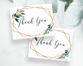 thank you card greenery copper thank you note thank you printable thanks card give thanks baby bridal shower party diy