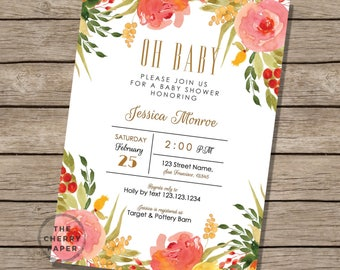 INSTANT DOWNLOAD Baby Shower Invitation, Spring Flower Baby Shower Invitation, Floral Garden Baby Invite, Pink,Orange,Yellow,Coral,Printable