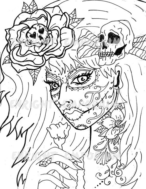 - Day Of The Dead Girl Coloring Page Digital Download Etsy