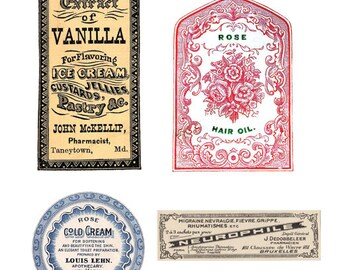 Beautiful Vintage Apothecary Labels Digital Download