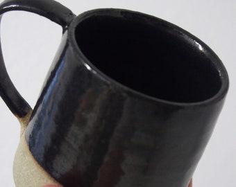 Metallic black ceramic coffee mug, tea mug, handmade, stoneware