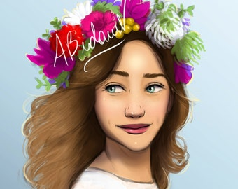 Beautiful woman flower crown green eyes white dress smile illustration art print orignal pink red blue Artwork decor unique gift colorful