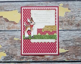 Handmade Christmas Card | Reindeer Christmas Card | Holiday Greeting Card | With Envelope