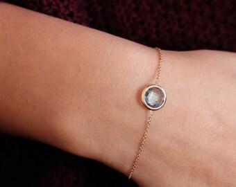 Gold Gemstone Bracelet, Lemon Quartz Bracelet, Amethyst Bracelet, Quartz Gold Bracelet, Bridesmaid Bracelet, 14K Gold Bracelet, GB0282