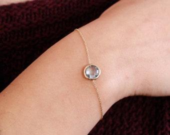 Blue Topaz Bracelet, December Birthstone, Gold Gemstone Bracelet, 14K Bracelet, Citrine Gold Bracelet, Rose Quartz, Birthstone Bracelet 0282