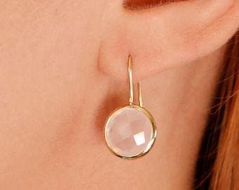 Rose Quartz Earrings, Gemstone Earrings, Gold Gemstone Earrings, Quartz Gold Earrings, Dainty Gold Earrings, 14K Gold Earrings, GE0379