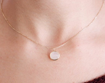 Moonstone Necklace, Rainbow Moonstone Necklace, 14K Gold Necklace, Gold Gemstone Necklace, Gold Moonstone Pendant, June Birthstone, GN0341