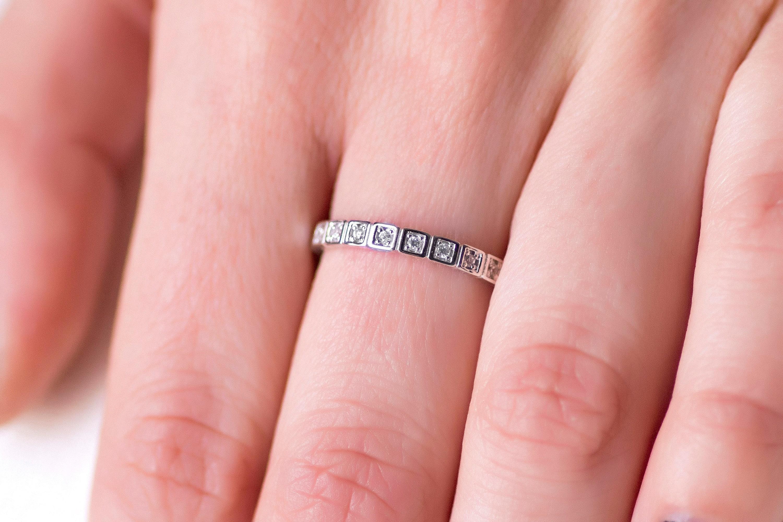 Diamond Wedding Band White Gold Diamond Ring 14K White Gold | Etsy