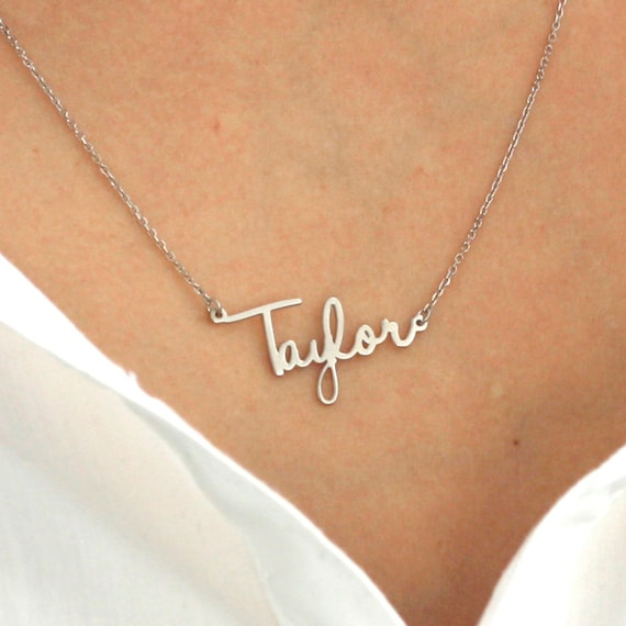 Gold Nameplate Anniversary Gift for Her Custom Name Order for Michelle 14K Solid White Gold Name Necklace in Clean Script Font PNDD005-W
