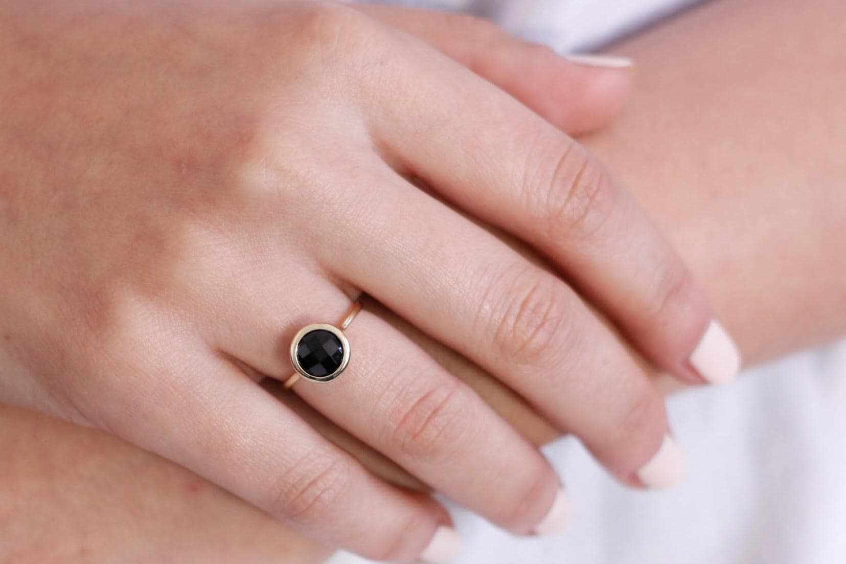 Black Onyx Ring Solid Gold Ring Onyx Gold Ring Black