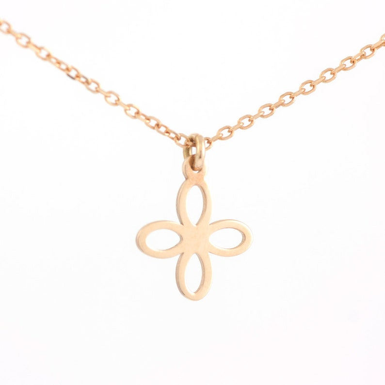 Mother/'s DayGift GN0323B Dainty Simple Minimalist Necklace for Women Cross Necklace 14K Rose Gold