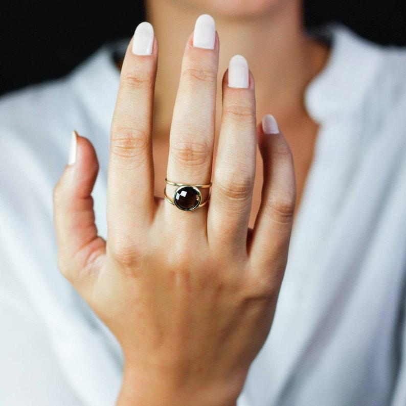 Christmas Gift for Her GR0232 Smoky Quartz Ring 14K Gold Ring Double Gold Gemstone Ring