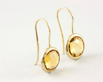 Citrine Earrings, Gemstone Earrings, Gold Gemstone Earrings, Gold Citrine Earrings, 14K Gold Earrings, November Birthstone Earrings, GE0379