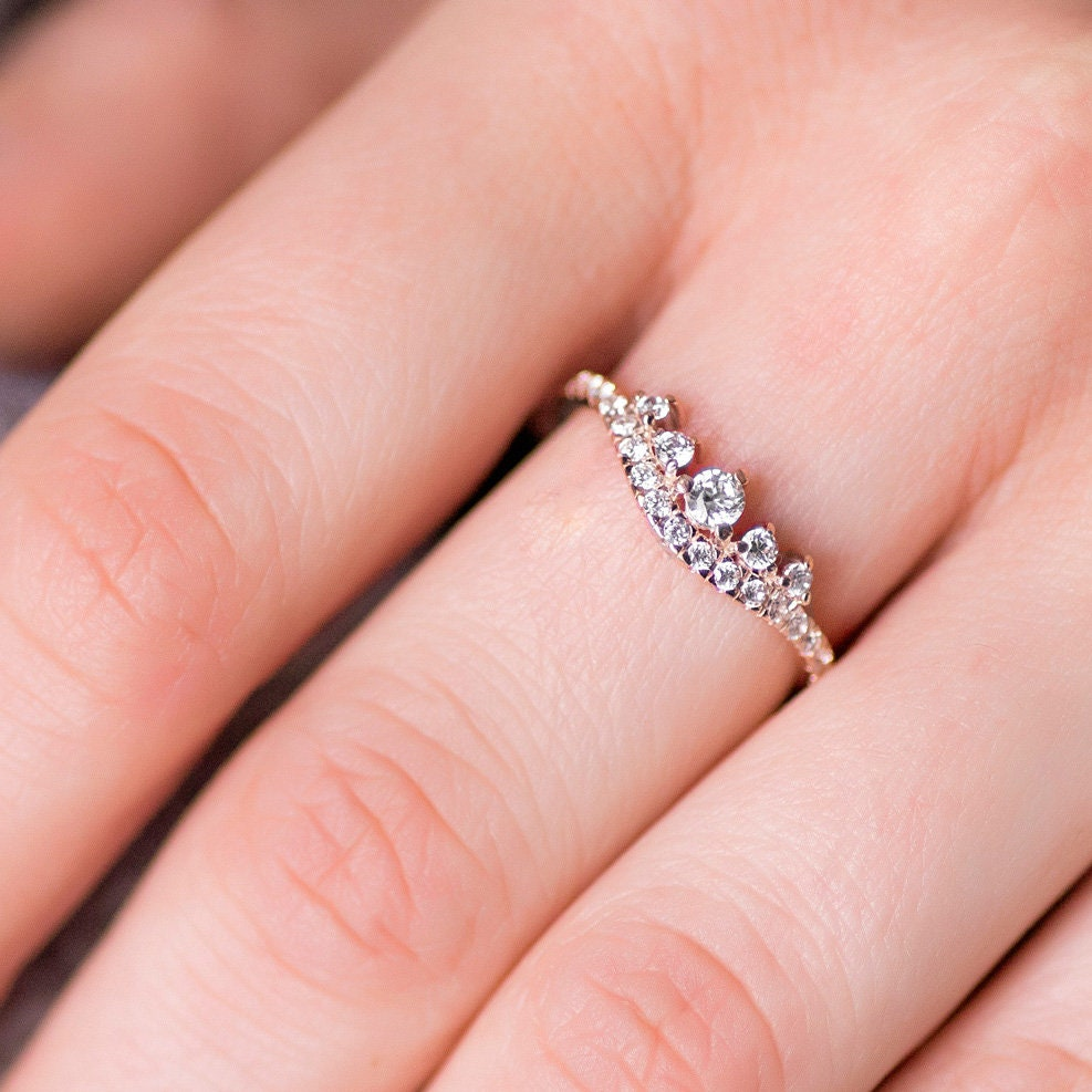 Diamond Wedding Ring Rose Gold Ring Cluster Wedding Band | Etsy