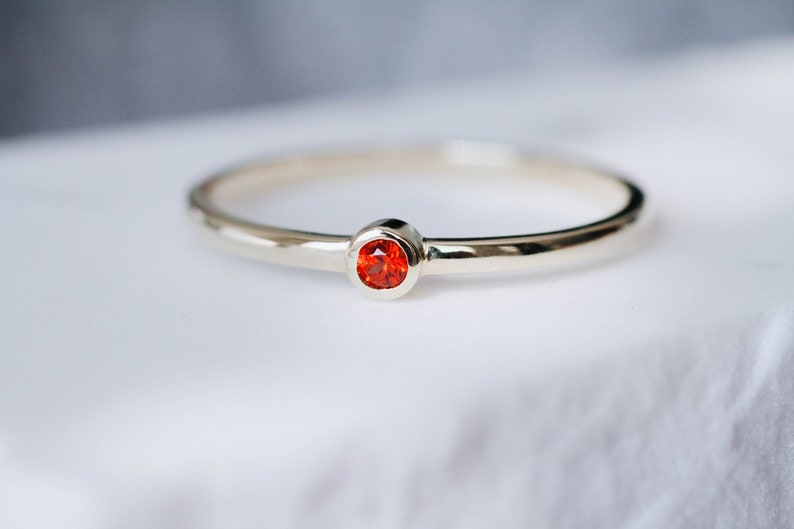 Orange Sapphire Ring Tiny Engagement Ring Dainty Stacking for Women Stackable Christmas Gift GR0812
