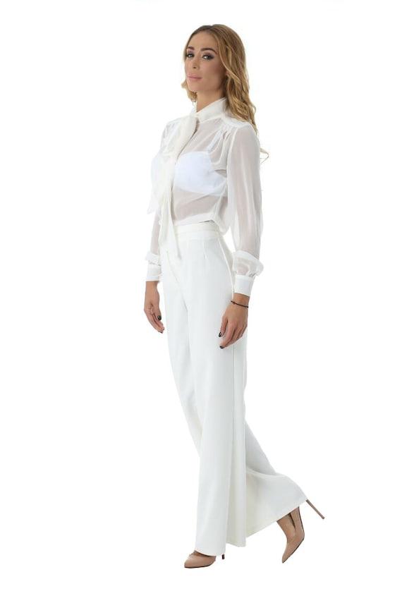 White Womens Pants, High Waist Pants, Long Suit Pants, Plus Size Pants,  Palazzo Pants, Classic Fashion Pants, Loose Ladies Pants, Maxi Pants