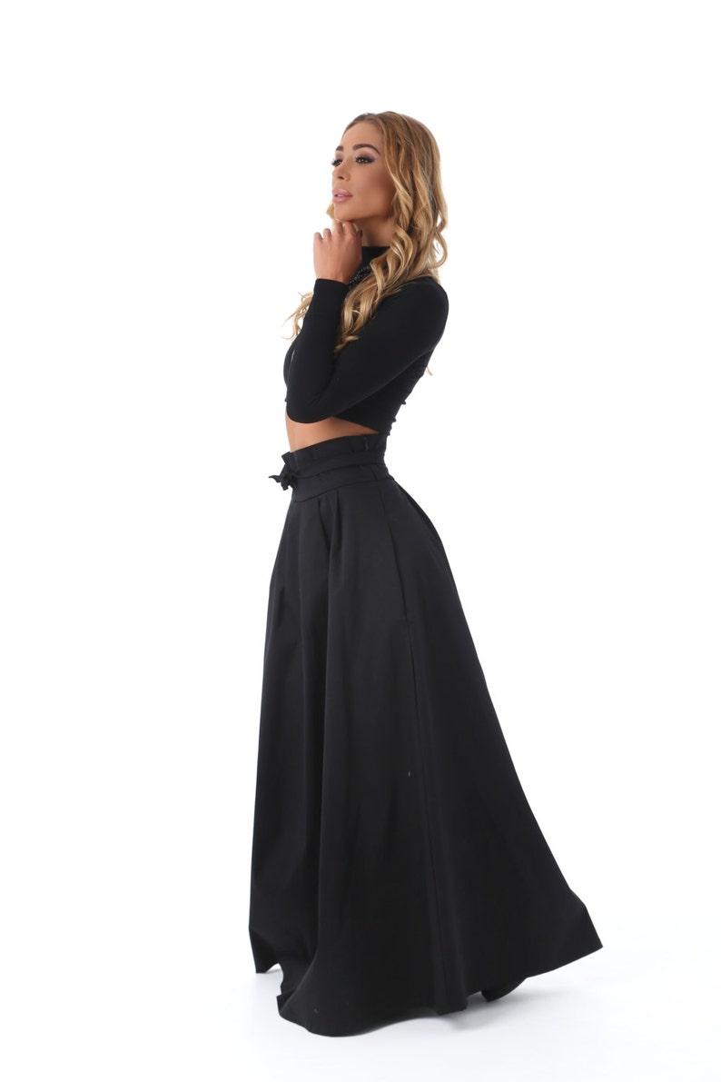 19f26c17817cfe Noir Womens jupe, jupe longue noire, partie jupe évasée, Plus jupe taille,  automne hiver, jupe longue complète, Boho jupe, jupe taille haute