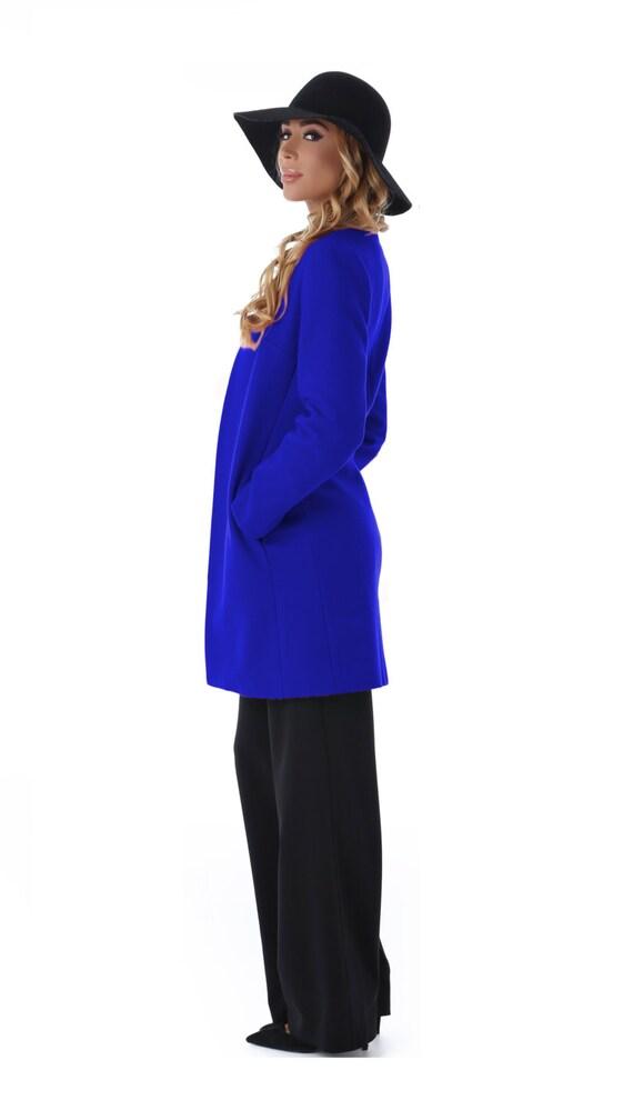 Giacca di lana, giacca donna blu cielo, cappotto invernale, giacca lunga, manto, cappotto di lana, cappotto elegante, cappotto di trincea senza