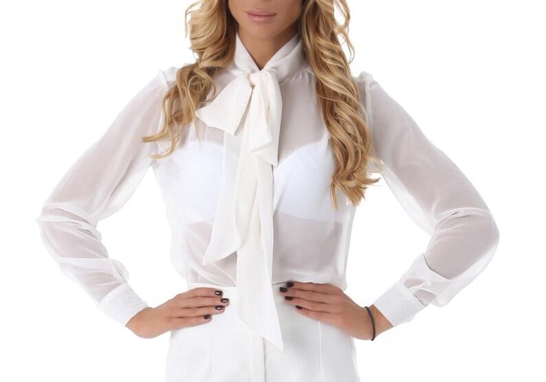 72c0d9ceec Womens haut blanc haut le chemisier blanc à manches longues | Etsy