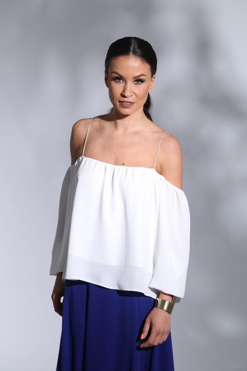 a3240cfbd68e47 Cold Shoulder Off shoulder blouse dropped shoulders Off   Etsy