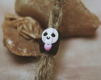 Lovely No-Face Spirited Away Dreads Bead | Polymer clay dreadlocks beads | Dread beads | Fimo Beads | Locks jewelry