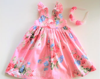 b6f24bdff Toddler Dress, Pretty,Pink, floral dress with Flutter Sleeves and  petticoat. Size 1 T Ready to Ship