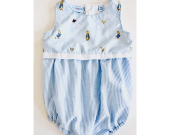 a7b61cea9de8 Baby boy romper, baby playsuit, baby gift, infant suit, Peter Rabbit romper  Size 3-6 mths Ready to ship