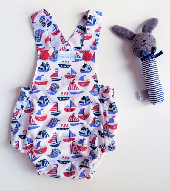 Handmade size 1 /&2 Nautical boys romper baby boys playsuit Baby Boy Romper