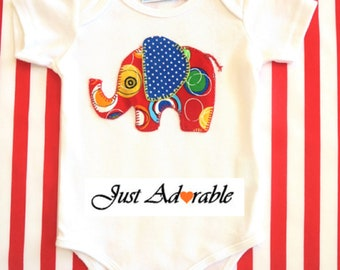 Unisex  Baby Onsie , Unisex Baby Suit,   Multi-spotted  Red Elephant Appliqued ,Short  Sleeved Onsie,   0 – 18 months  Ready to ship