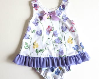 Toddler Dress Set, Baby girl dress and panties,  Frilled, floral Dress Set, Toddler A- Line Dress and panties.  Size  1   Ready to ship