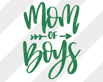 Mom of Boys svg, eps, dxf, studio3, png, jpg, clipart, Silhouette Cameo, Cricut Design Space, Brother Scan Cut Files Mom to Boys Boy Hashtag