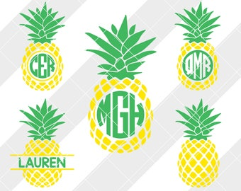 Pineapple Monogram svg, eps, dxf, studio3, png, jpg, Clipart, Silhouette Cameo, Cricut Design Space, Brother Scan Cut, Monogram, Luau Decal
