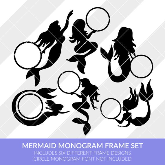 Mermaid Monogram Frames Svg Eps Dxf Studio3 Png Jpg Etsy
