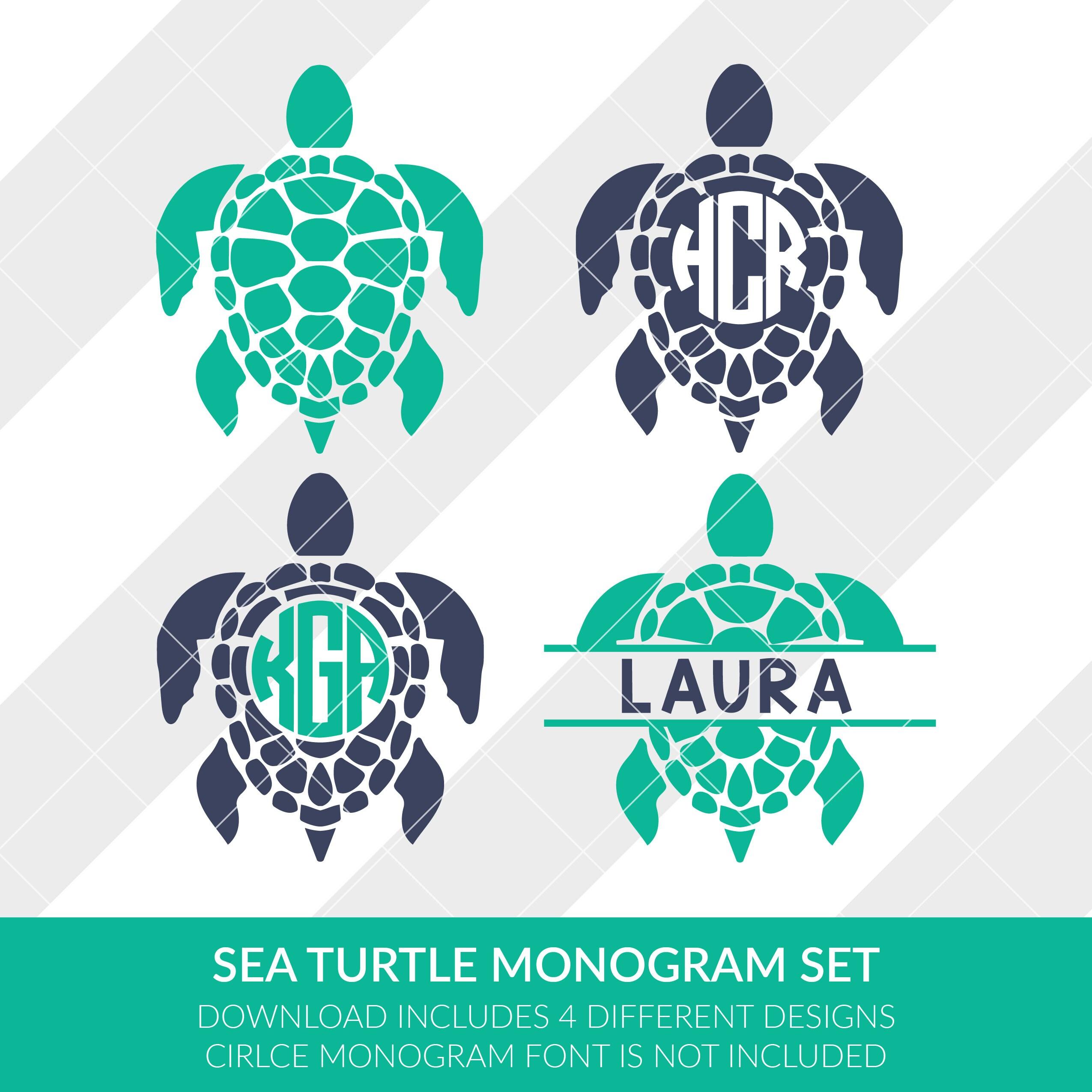Download Sea Turtle Monogram Frames svg eps dxf studio3 png jpg | Etsy
