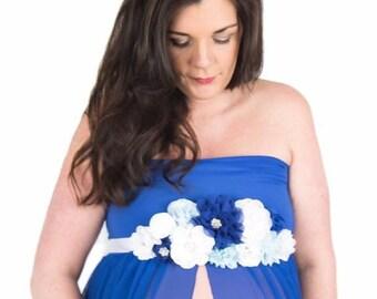 75c04838fef Royal Blue Maternity Dress SIMPLICITY   Blue Maternity Gown   Royal Blue Pregnancy  Dress   Baby Shower Dress   Blue Split Front Chiffon Gown