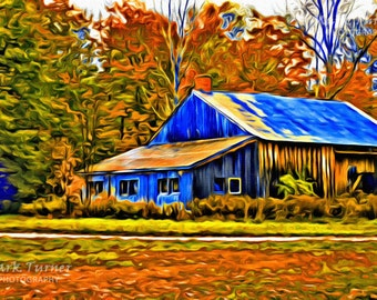 Old Barn, Fall Colors, Fall Foilage, Vermont, New England, Color Photography, Water Color Effect, Paintography, Home Decor, Office Decor