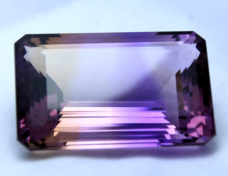 Excellent Octagon 53.30 Ct 30 x 20 mm Purple and White Ametrine African Natural Gemstone Making Jewelry Good