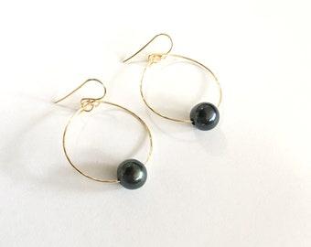 Classic Fresh Water Pearl Hoop Earrings