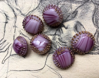 6 Old striped Glass buttons-high quality work-gold-color hand painted (035)