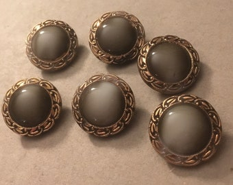 6 Old vintage glass buttons-glass buttons-hand painted gold ornaments (171)