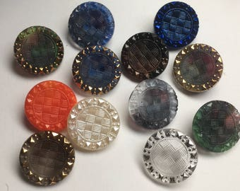 12 beautiful old collector / glass buttons - Art Nouveau knobs - 12 colours (109)