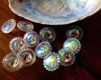10 Aurora borealis Glass Buttons-vintage-Wonderful light effects (024)