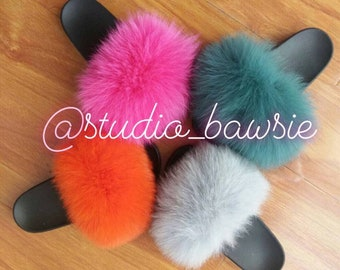 rainbow fur slides etsy