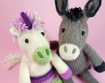 Unicorn and Donkey knitting pattern