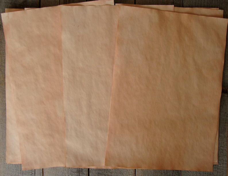 25 Peach Color Paper Paper For Junk Journals Hand Dyed Paper Paper For Albums Herbal Tea Dyed Paper