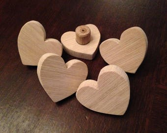 Drawer knob or peg theme heart natural wood