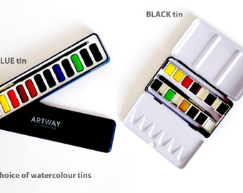 12 Colours Watercolour Tin Artway high pigment set with add on