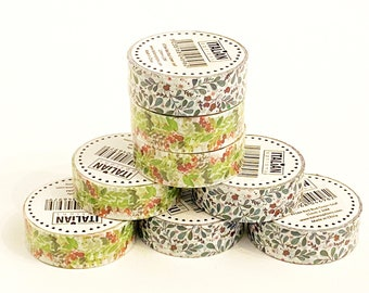Winter 10m Holly and/or Berry choice of Washi craft tape