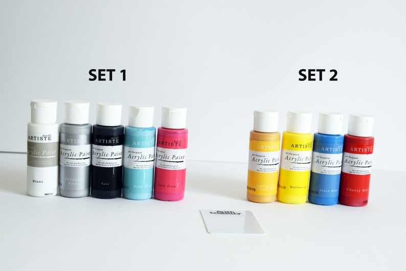 Acrylic Paint Kits with scraper card and sequin waste image 0