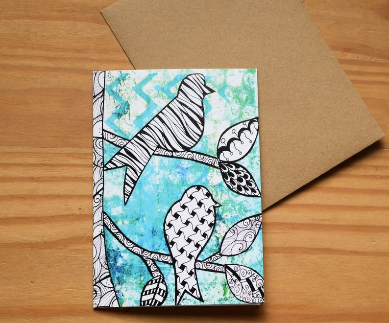 Mixed Media Birds Print card A6 size image 0